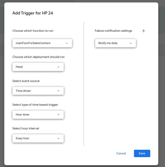 set trigger in google apps script