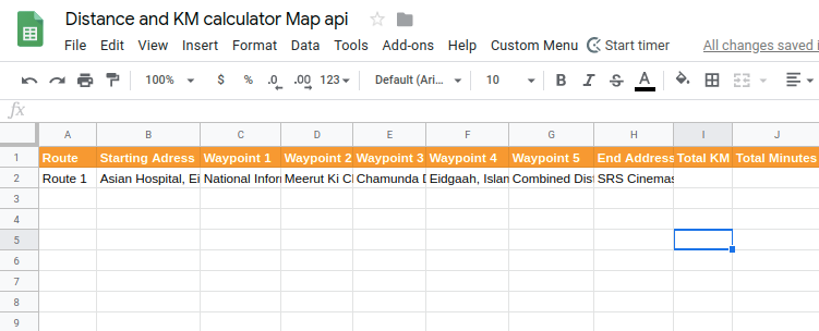 Find distance between Multiple Location in Google sheets